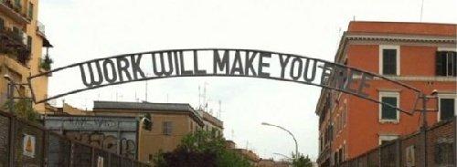 La scritta in ferro battuto apparsa al Pigneto, Roma, il 25/04/2011. Clicca per leggere le dichiarazioni a Repubblica dell'artista Mimmo Rubino.