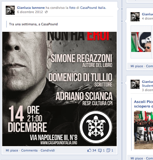 Uno screenshot a caso dalla pagina FB di Iannone.