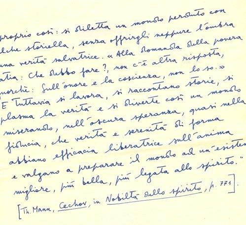 Appunto manoscritto di Jesi, da T. Mann, s.d.