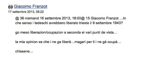 Commento lasciato da Franzot nel forum triestino bora.la