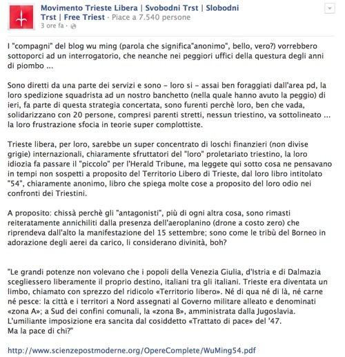 Dalla pagina Facebook ufficiale del Movimento Trieste Libera, ieri