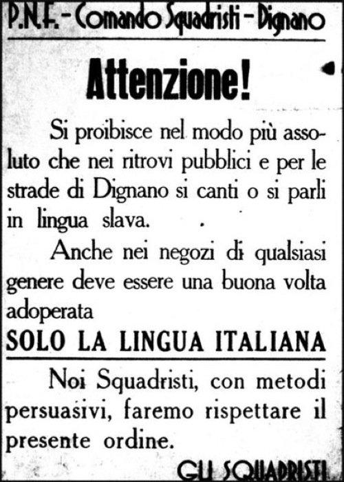 Cartello contro l'uso della lingua croata affisso dai fascisti a Dignano/Vodnjan