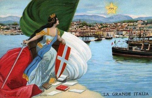 La grande Italia. Cartolina propagandistica su Trieste irredenta, 1915