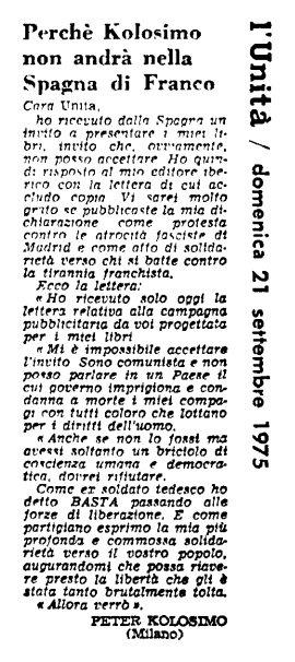 Una lettera di Peter Kolosimo a «L'Unità», 21 settembre 1975. Perché non andrà a presentare i suoi libri nella Spagna franchista.