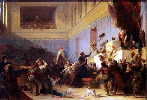 A.E. Fragonard, «Boissy D'Anglas saluta la testa del deputato Féraud, I° Pratile Anno III (20 maggio 1795)», olio su tela, 1831. «L'Armata dei Sonnambuli», pagg. 761 - 762. Clicca per ingrandire.
