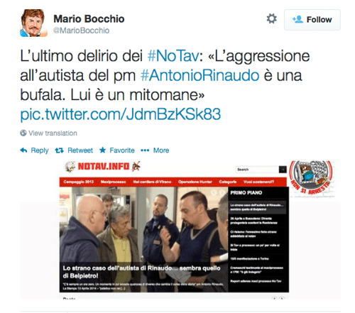 Tweet del giornalista Mario Bocchio del 15 aprile 2014.
