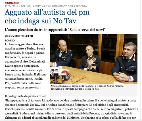 «La Stampa» del 12 aprile 2014. Nemmeno l'ombra di un dubbio: sono stati i No Tav!