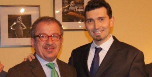 Il sindaco di Vigevano Andrea Sala (a destra) con Bobo Maroni (a destra pure lui).