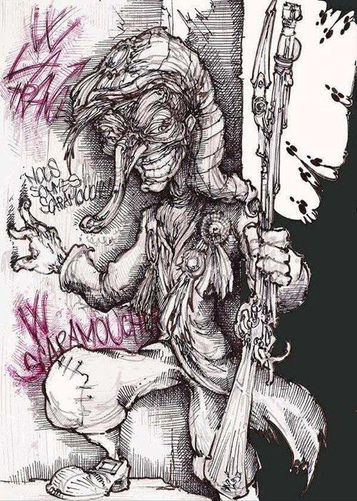 Scaramouche nell'interpretazione di Alessandro Caligaris. Clicca per visitare il sito dell'artista. Ci sono anche omaggi ad altri nostri romanzi.