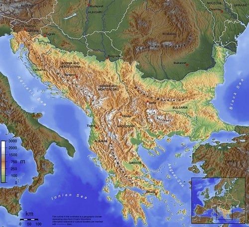 La penisola balcanica.