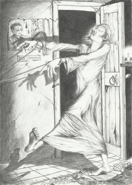«Il Sonnambulo», disegno di Roberto Albanesi.