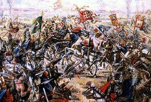 La battaglia del Campo dei Merli in un quadro di Petar Radičević del 1987, anno-chiave nell'uso politico del mito tecnicizzato di Kosovo Polje.