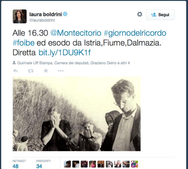Il tweet di Laura Boldrini