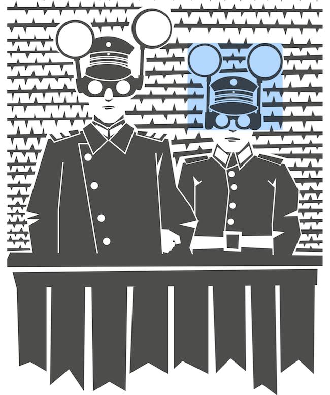 Illustrazione di Claudio Madella. Clicca per vedere e comprare l'artwork ispirato a L'invisibile ovunque e Schegge di Shrapnel.