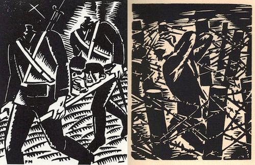 F. Masereel, Debout les morts - Résurrection Infernale, 1917 (a sx) e Notre temps, 1952 (a dx)