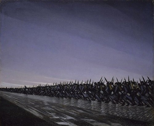 CRW Nevinson, Column on the march, 1915