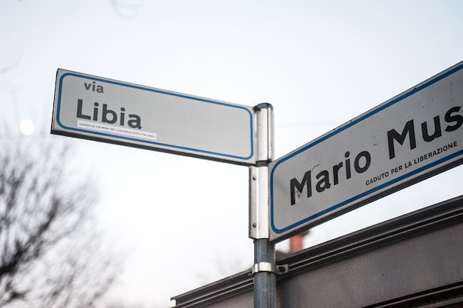 Un cartello di via Libia