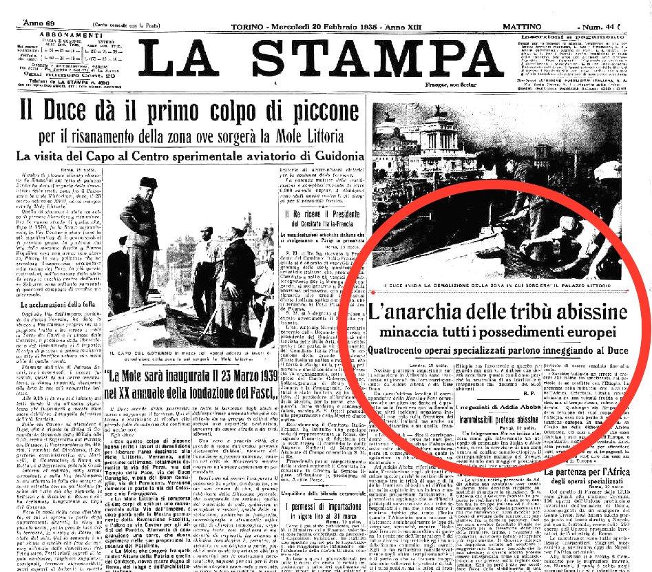 La Stampa, 20 febbraio 1935.