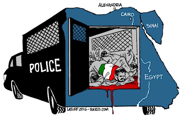 Vignetta di Carlos Latuff sul caso Regeni