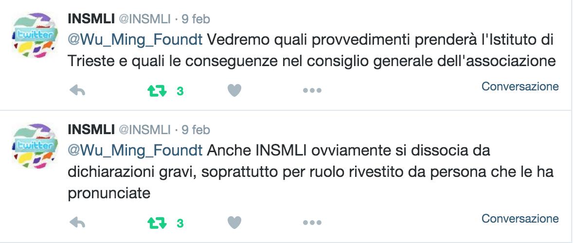 Le dichiarazioni dell'INSMLI su Twitter, 9 febbraio 2016