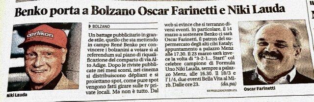 Benko porta a Bolzano Oscar Farinetti e Niki Lauda