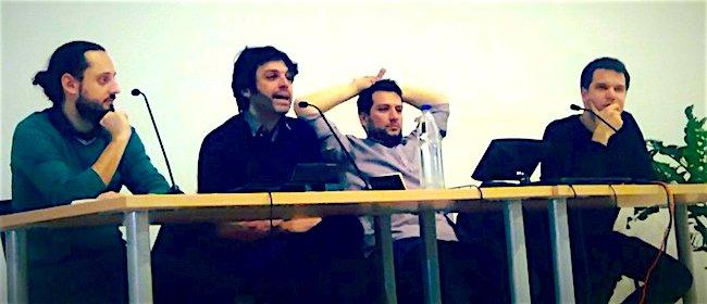Da sinistra: Flavio Pintarelli, Giuliano Santoro, Valerio Renzi e Wolf Bukowski. Immagine tratta da Salto.bz , testata on-line sudtirolese bilingue.