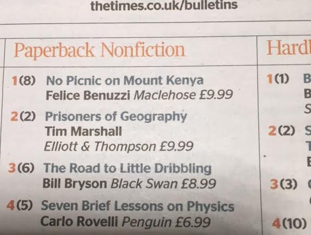 No Picnic on Mount Kenya primo in classifica in UK