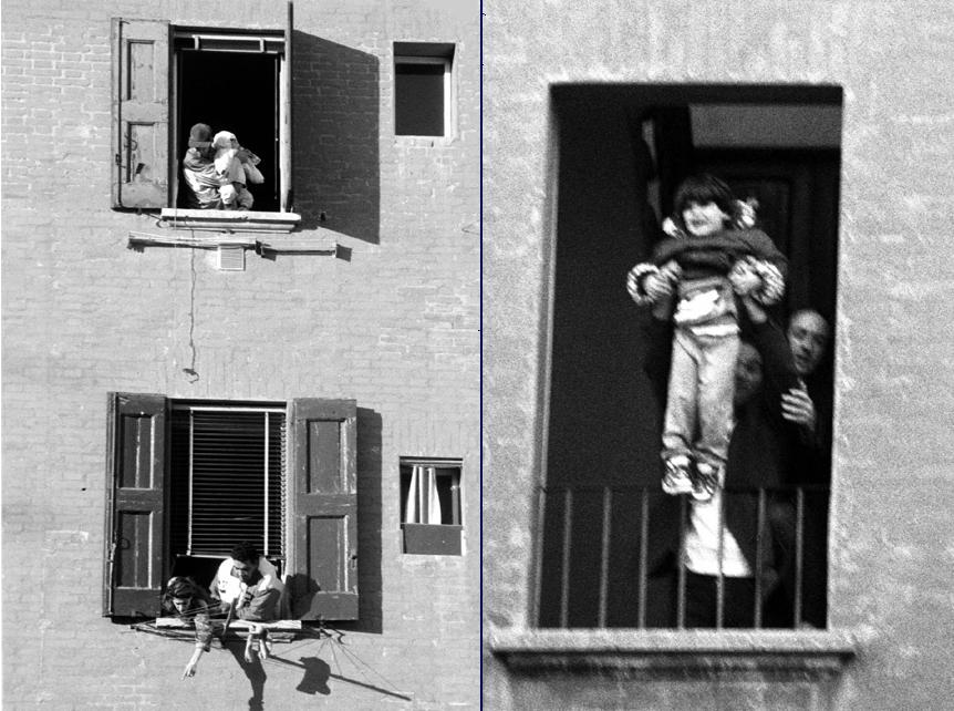 Bologna, sgombero in via Rimesse. Alle finestre, padri e madri disperate mostrano i loro bambini e gridano: «Guardate, abbiamo figli! Ci buttate in mezzo alla strada, al freddo, di loro cosa dobbiamo fare?».