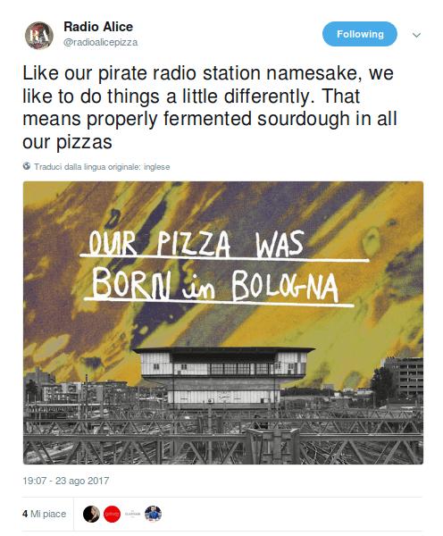 Dal profilo Twitter della pizzeria Radio Alice