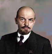 Dettaglio di una foto di Lenin colorata dall'artista brasiliana Marina Amaral.