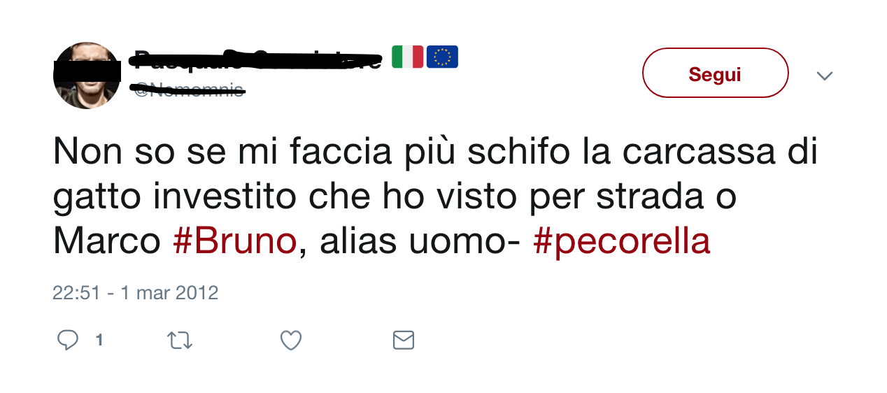 Screenshot di un tipico tweet di insulti contro Marco Bruno.