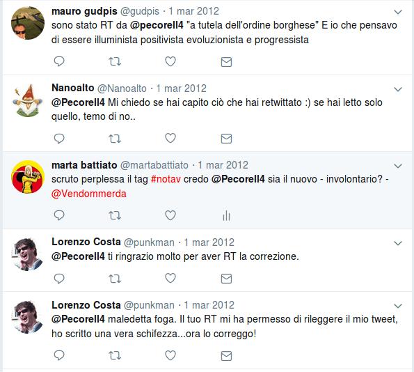 Screenshot. Le poche menzioni residue di @pecorell4 in data 20 novembre 2018.