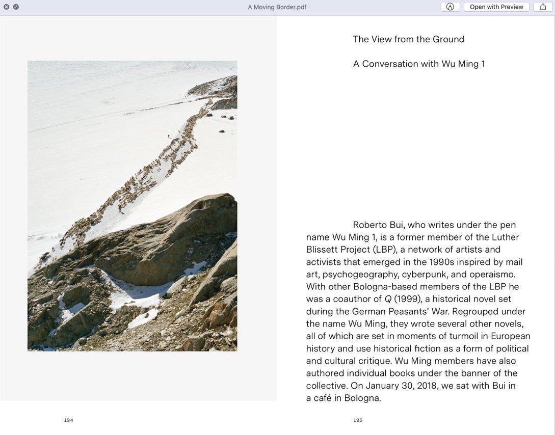 Pagine da A Moving Border, il libro a cura di Italian Limes
