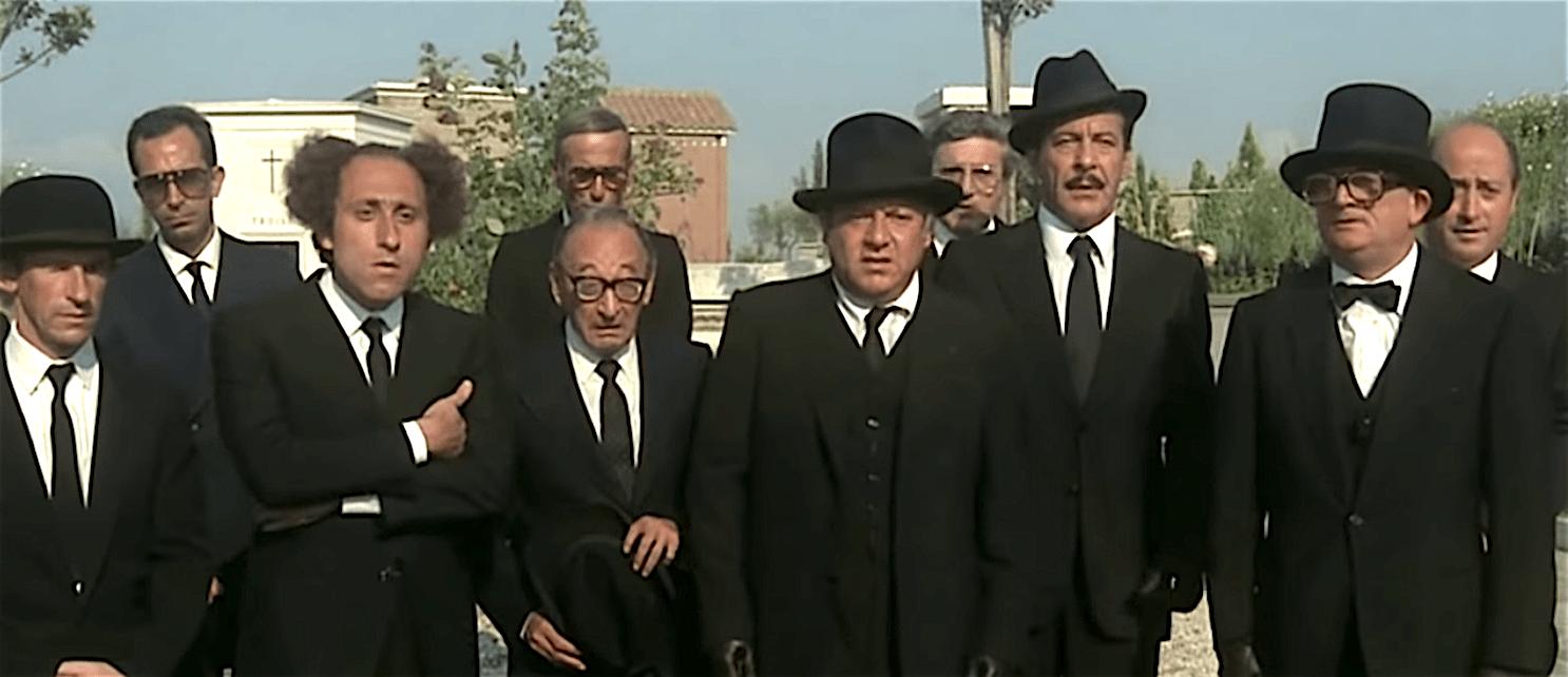 Fantozzi, Filini e Calboni al funerale