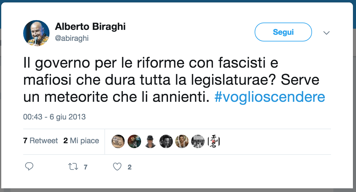 Lo storico tweet del Biraghi, 6 giugno 2013.