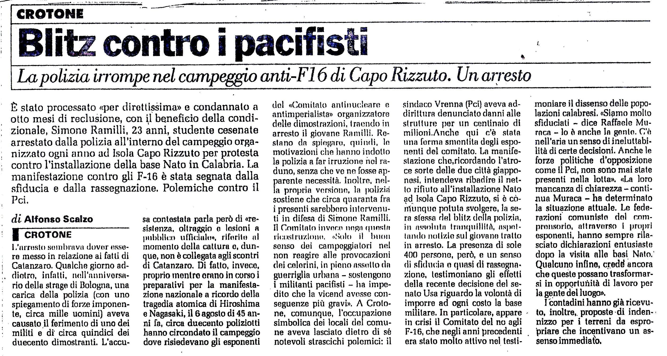 Articolo del Manifesto sull'arresto di Simone Ramilli