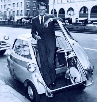 Cary on a mini-car