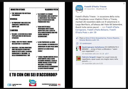 Il volantino di Fratelli d'Italia