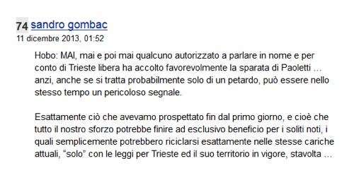 Siamo alle solite, Gombac smentisce Trieste Libera Impresa dicendo che MTL non crede alle dichiarazioni di Paolettii