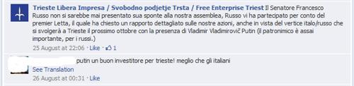 Contatti tra Letta e MTL per il tramite del senatore Francesco Russo in previsione dell'arrivo di Putin  a Trieste
