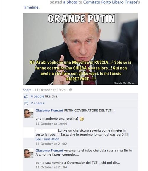 Indipendentisti triestini, tra cui Giacomo Franzot, fanno l'apologia delle sparate anti-islamiche di Putin e dicono che dovrebbe diventare governatore del TLT