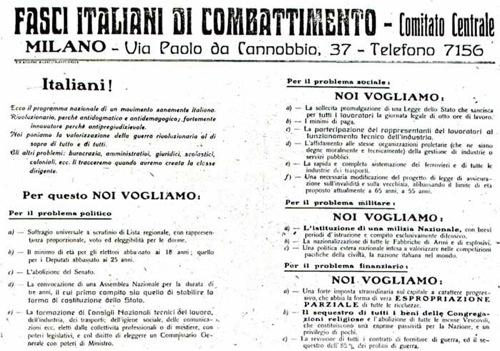 Programma di San Sepolcro, 1919