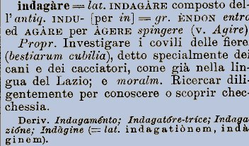 Etimologia della parola Indagare