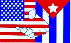 Cuba and the US shaking hands