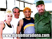 Maradona and Fidel posing together for a photograph
