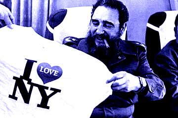 Fidel with a I Love NY t-shirt